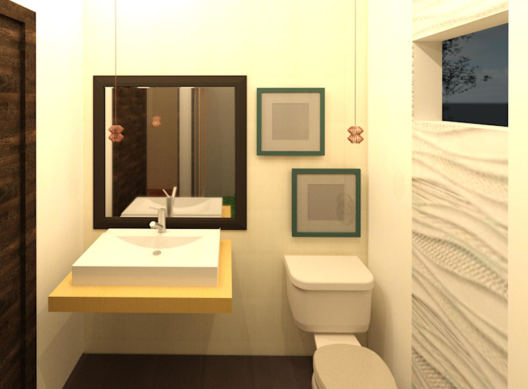 Baño de visitas Baños modernos de Perfil Arquitectónico Moderno Azulejos