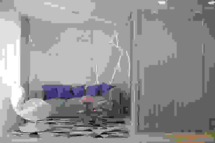 Дизайн спальни в стиле постмодернизм в квартире по ул. Благоева, г.Краснодар Спальня в стиле минимализм от Студия интерьерного дизайна happy.design Минимализм