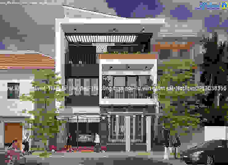 Mẫu thiết kế biệt thự 3 tầng 9x16m hiện đại bởi Văn phòng kiến trúc Ktshanoi