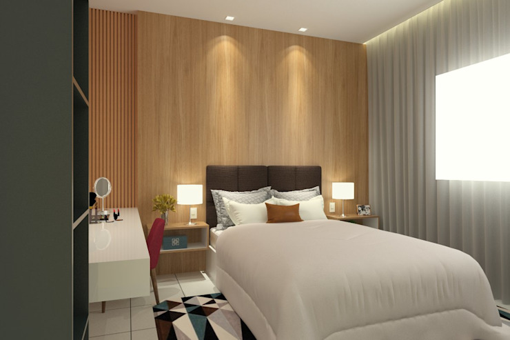 Kamar Tidur Modern Oleh Bruna Rodrigues Designer de Interiores Modern Kayu Wood effect