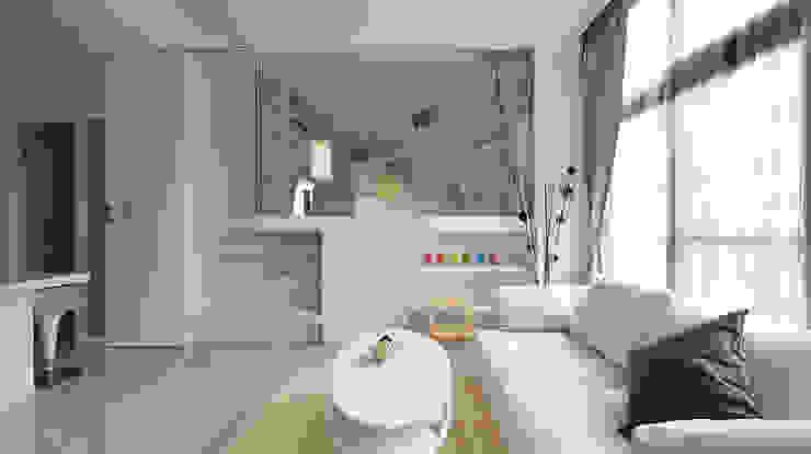 小坪數大空間之16坪純淨簡約溫馨宅 现代客厅設計點子、靈感 & 圖片 根據 瓦悅設計有限公司 現代風