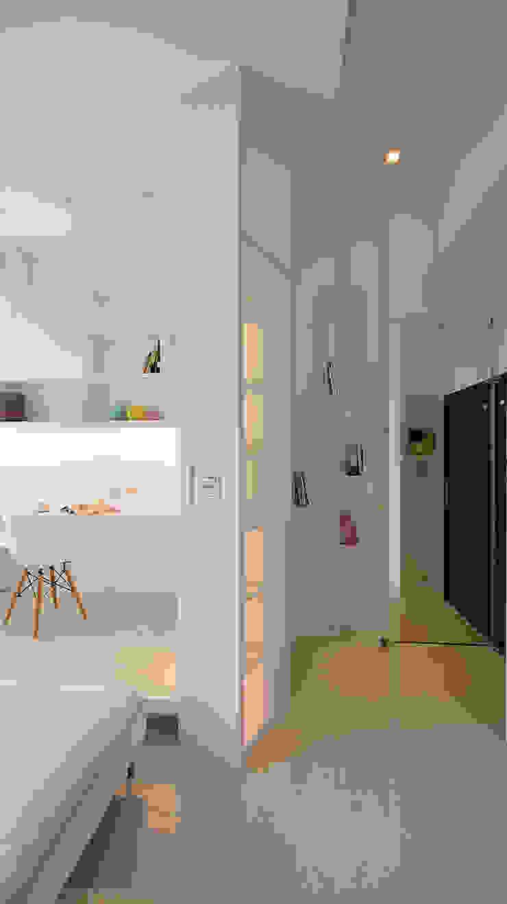 小坪數大空間之16坪純淨簡約溫馨宅 現代風玄關、走廊與階梯 根據 瓦悅設計有限公司 現代風