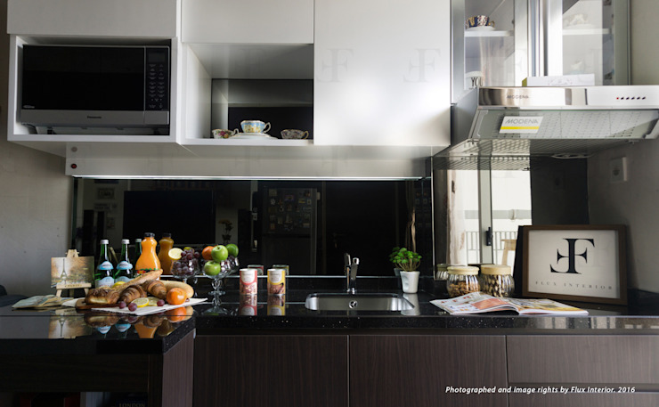 Multifunctional Kitchen Area for Royal Mediterania Garden Residences Apartment Flux Interior Modern Kitchen Plywood