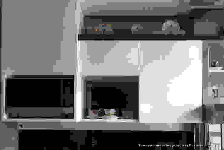 Multifunctional Kitchen Area for Royal Mediterania Garden Residences Apartment Flux Interior KitchenCabinets & shelves Plywood White