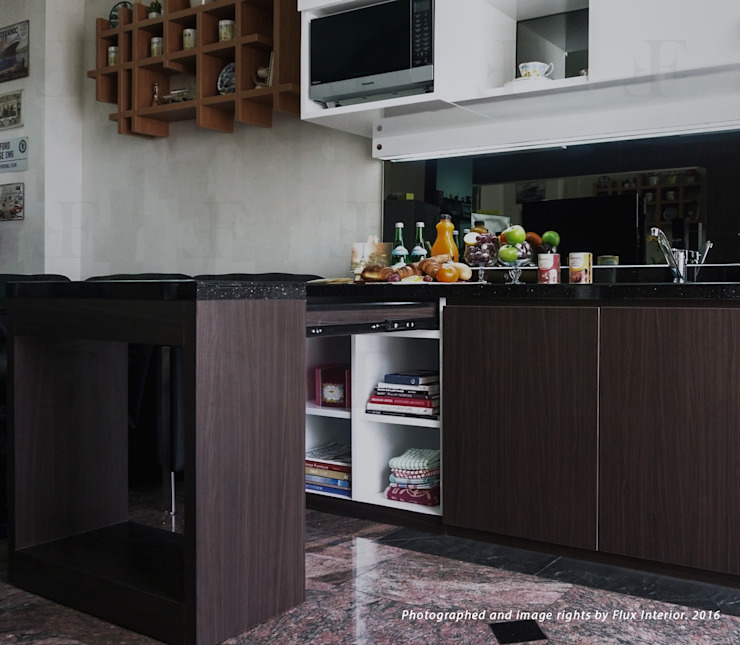 Multifunctional Kitchen Area for Royal Mediterania Garden Residences Apartment Flux Interior KitchenCabinets & shelves Plywood Wood effect