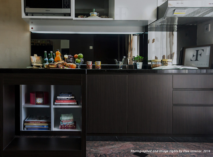 Multifunctional Kitchen Area for Royal Mediterania Garden Residences Apartment Flux Interior KitchenCabinets & shelves Plywood