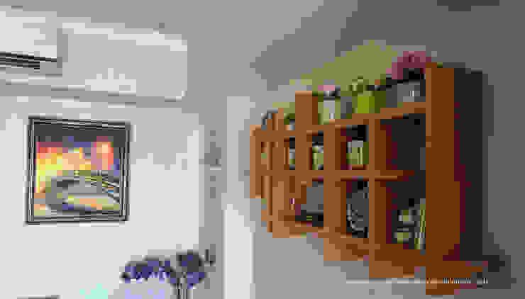 Multifunctional Kitchen Area for Royal Mediterania Garden Residences Apartment Flux Interior Living roomShelves Plywood Wood effect