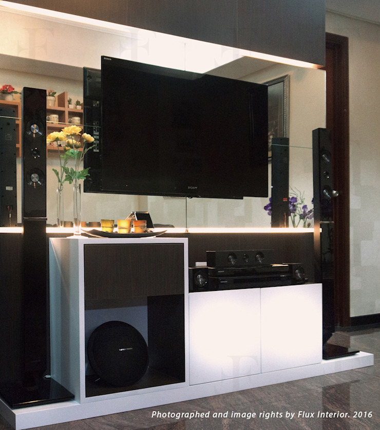 Multifunctional Kitchen Area for Royal Mediterania Garden Residences Apartment Flux Interior Living roomTV stands & cabinets Plywood Multicolored