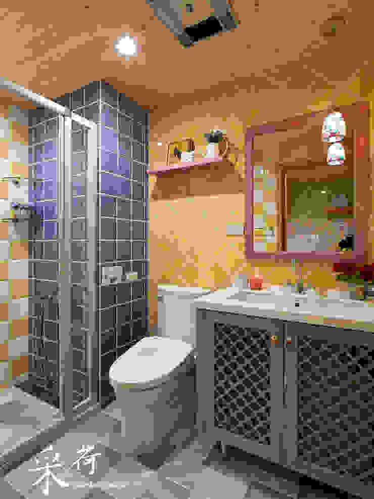 美式鄉村風-小坪數夾層屋 根據 采荷設計(Color-Lotus Design) 鄉村風 磁磚