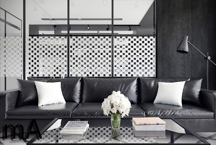 Pure White Living / Oturma Birimi MENTAL ARC DESIGN Endüstriyel Ahşap Ahşap rengi