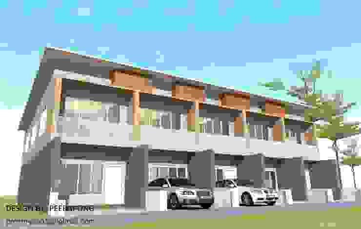 Corredores, halls e escadas modernos por รับเขียนแบบบ้าน&ออกแบบบ้าน Moderno