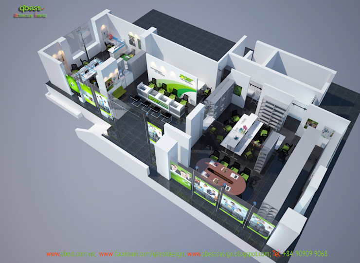 Phối cảnh tổng thể 3: hiện đại  by Công ty TNHH Thiết kế và Ứng dụng QBEST, Hiện đại