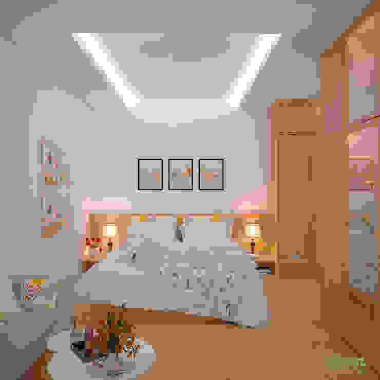 Phòng ngủ chính: hiện đại  by Công ty TNHH Thiết kế và Ứng dụng QBEST, Hiện đại