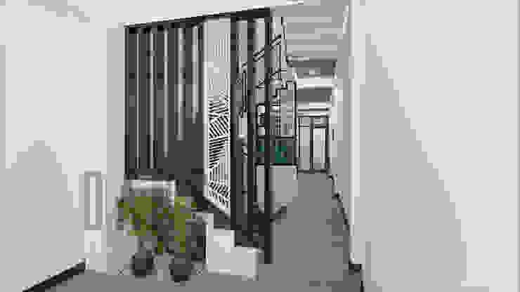 CĂN HỘ NHỎ Hành lang, sảnh & cầu thang phong cách mộc mạc bởi DCOR Mộc mạc