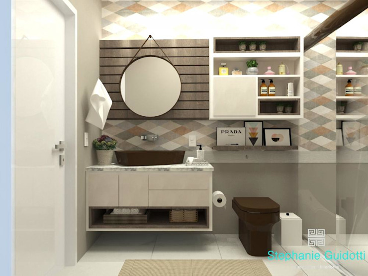 Stephanie Guidotti Arquitetura e Interiores Mediterranean style bathrooms Ceramic Beige