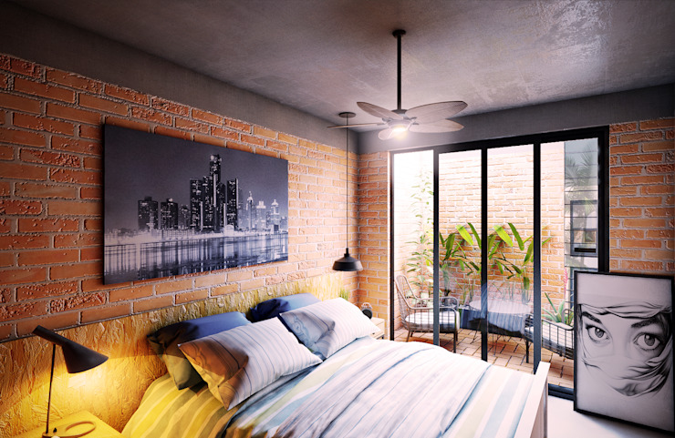Bedroom by GRUPO ESCALA ARQUITECTOS, Modern Bricks