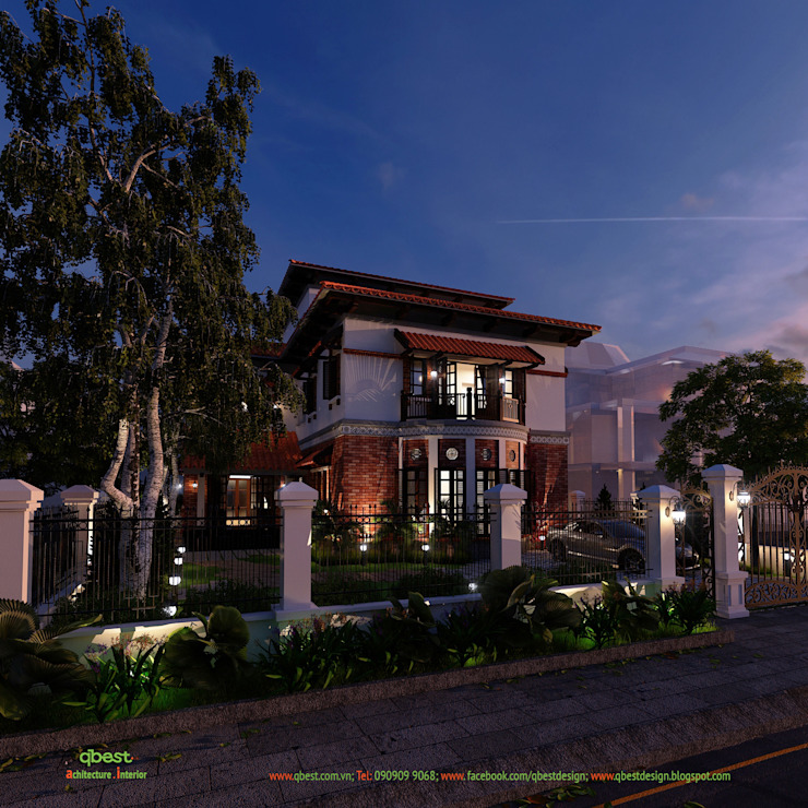 Phối cảnh buổi tối bởi Công ty TNHH Thiết kế và Ứng dụng QBEST Nhiệt đới