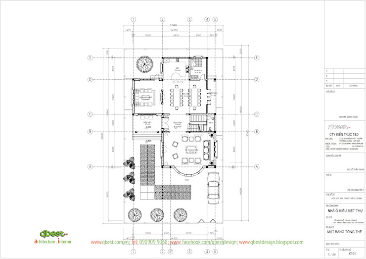 Mặt bằng tổng thể:  Biệt thự by Công ty TNHH Thiết kế và Ứng dụng QBEST,