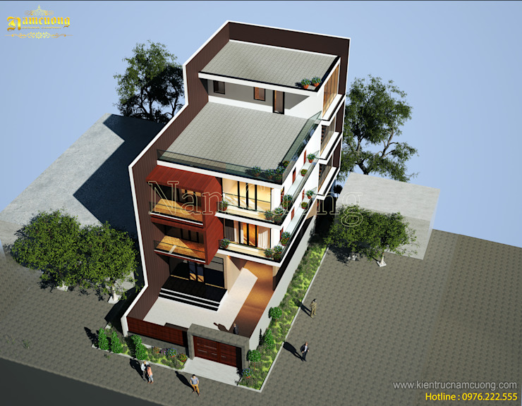 Maisons de style  par Công ty Cổ phần tư vấn thiết kế xây dựng Nam Cường,