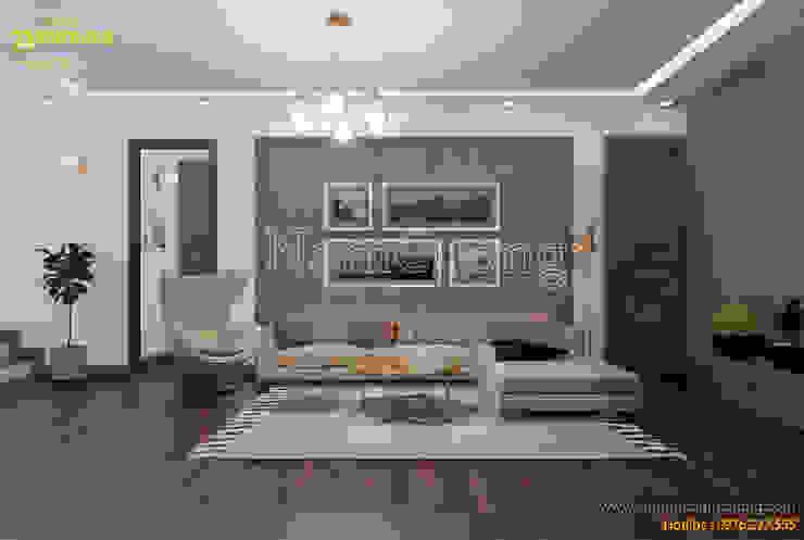 Ruang Keluarga Modern Oleh Công ty Cổ phần tư vấn thiết kế xây dựng Nam Cường Modern