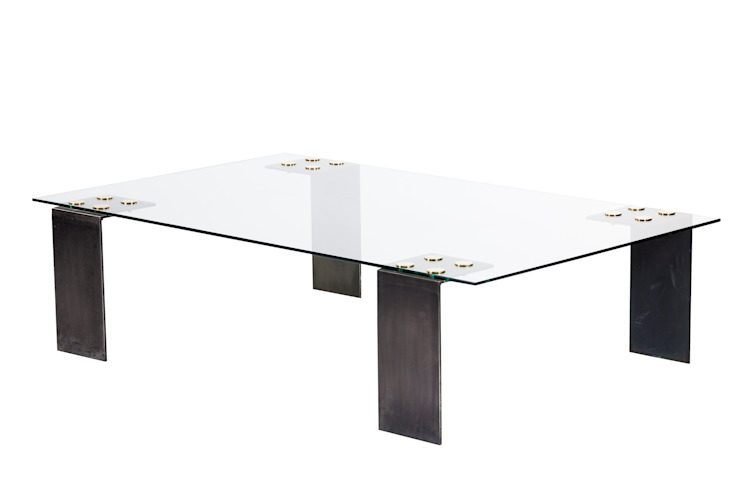 Glass patch coffee table: modern  by Egg Designs CC, Modern Glass