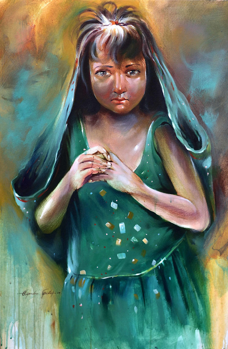 """Pick Appealing """"Slum Girl"""" Figurative Painting from Indian Art Ideas! : asian  by Indian Art Ideas,Asian"""