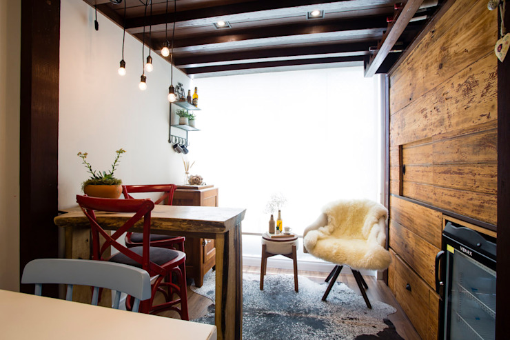 Rustic style dining room by Join Arquitetura e Interiores Rustic