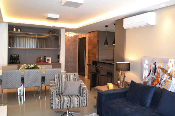 现代客厅設計點子、靈感 & 圖片 根據 Join Arquitetura e Interiores 現代風