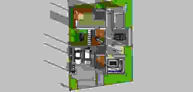 บ้าน2ชั้น 4ห้องนอน 5ห้องน้ำ: ทันสมัย  โดย iamarchitex, โมเดิร์น