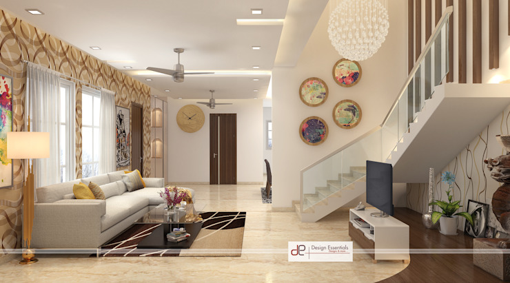 Villa at Jay Pee Greens Greater Noida Modern corridor, hallway & stairs by Design Essentials Modern Plywood