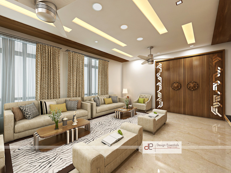 Villa at Jay Pee Greens Greater Noida Modern living room by Design Essentials Modern Plywood
