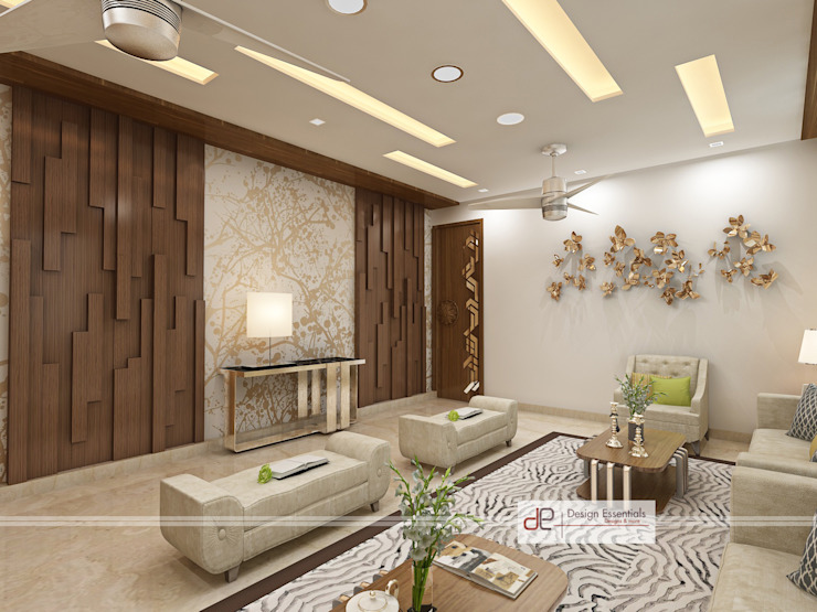 Villa at Jay Pee Greens Greater Noida Design Essentials Modern living room Plywood Beige