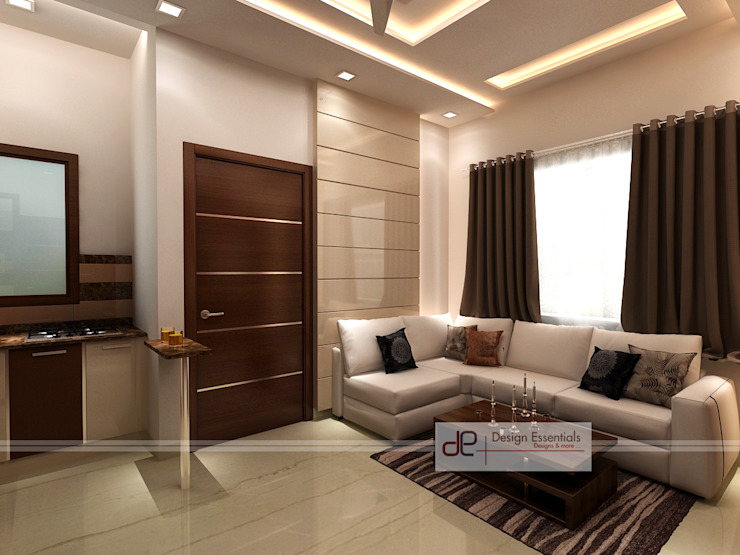 Residence at Rohini, New Delhi Modern living room by Design Essentials Modern Plywood