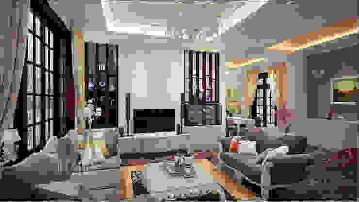 không gian phòng khách Phòng khách phong cách châu Á bởi DCOR Châu Á