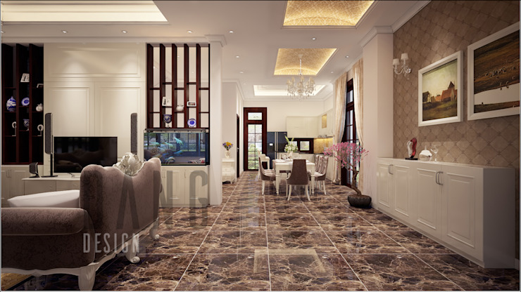 không gian sảnh phòng khách Hành lang, sảnh & cầu thang phong cách châu Á bởi DCOR Châu Á