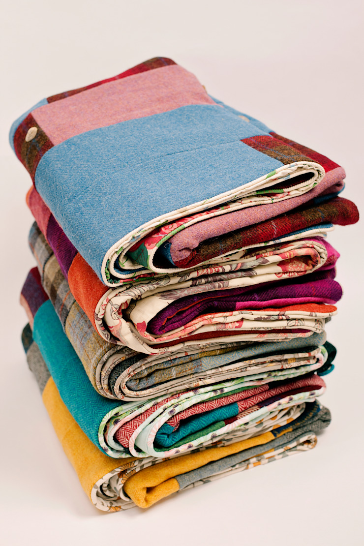 Finest Harris Tweed patchwork quilts Quilts by Lisa Watson BedroomTextiles Multicolored