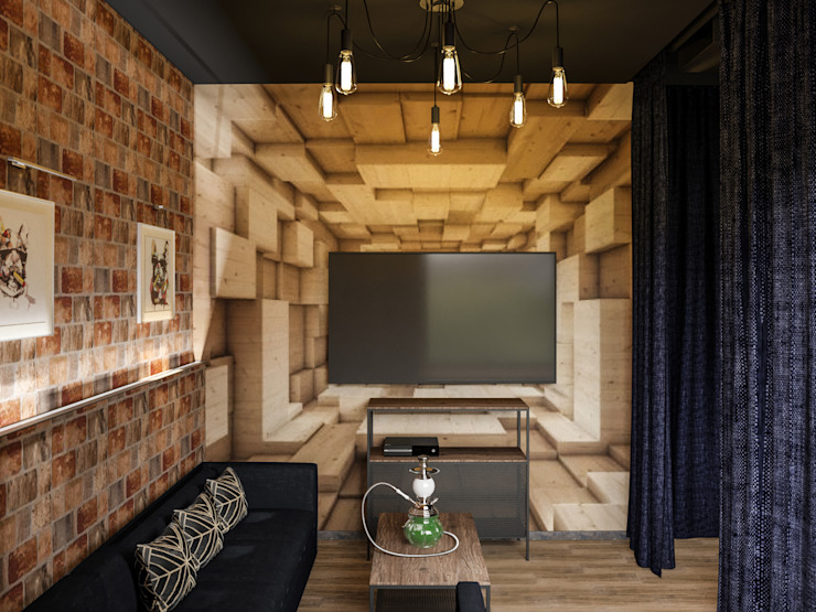 Industrial style walls & floors by AG design Industrial Engineered Wood Transparent