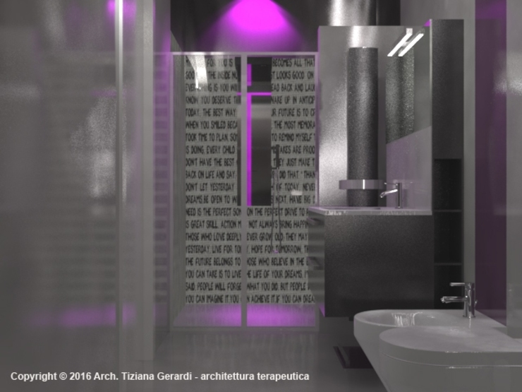 ArchitetturaTerapia® Baños de estilo moderno Cerámico Morado/Violeta