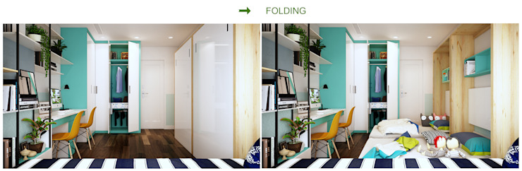 Phòng ngủ 2 cháu bé sinh đôi: hiện đại  by Công ty TNHH Thiết kế và Ứng dụng QBEST, Hiện đại
