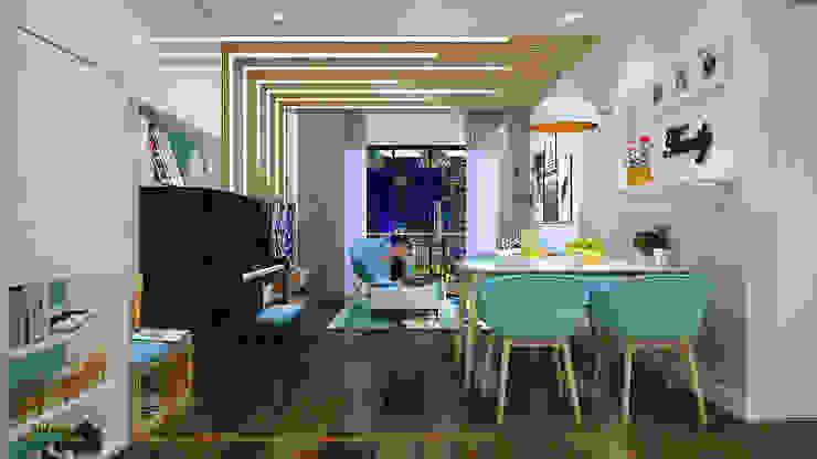 Không gian ăn liên thông với không gian tiếp khách: hiện đại  by Công ty TNHH Thiết kế và Ứng dụng QBEST, Hiện đại