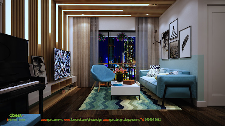 Phòng khách buổi tối: hiện đại  by Công ty TNHH Thiết kế và Ứng dụng QBEST, Hiện đại