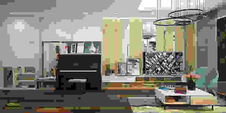 Một phương án khác của phòng khách: hiện đại  by Công ty TNHH Thiết kế và Ứng dụng QBEST, Hiện đại