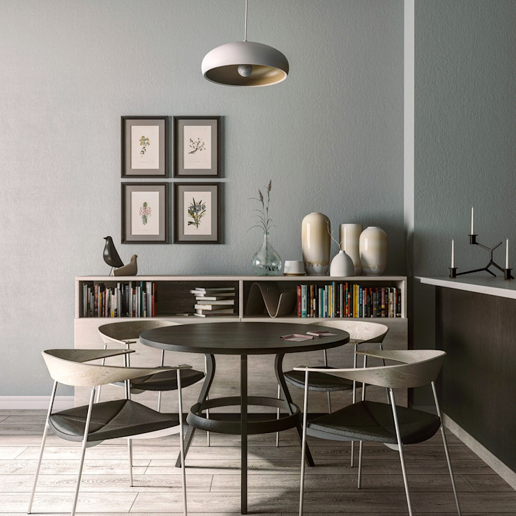 MENTAL ARC DESIGN Minimalist dining room Solid Wood Beige