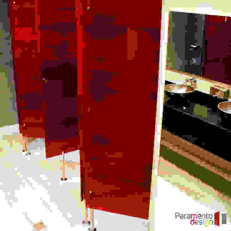 Separador de acrílico con textil encapsulado Paramento Design Baños modernos Rojo
