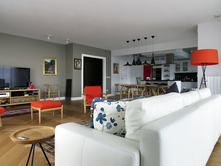 Scandinavian style living room by MİMPERA Scandinavian Solid Wood Multicolored