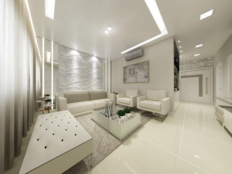 Annelise Massani - Interiores + Arquitetura Modern living room Beige