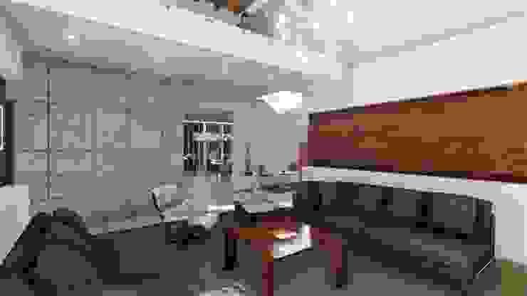 现代客厅設計點子、靈感 & 圖片 根據 IAD Arqutiectura 現代風