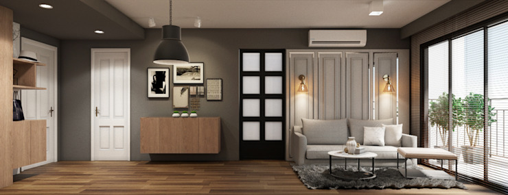 LIVING AREA (ELEVATION) by 22Augustudio Modern Silver/Gold