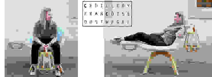 Lounge Chair Fyrsta: modern  door Çedille by Françoise Oostwegel, Modern Leer Grijs