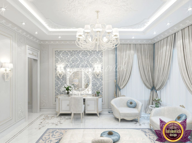Lovely bedroom design from Katrina Antonovich Classic style bedroom by Luxury Antonovich Design Classic